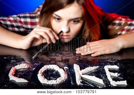 Woman Snorting Cocaine Or Amphetamines, Coke Addiction