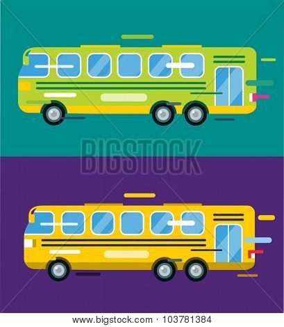 City bus cartoon style vector. Bus icon silhouette. Bus vector cartoon silhouette. Bus mobile fast city transport. Bus fast moving. Yellow bus vector illustration. Vector bus object isolated