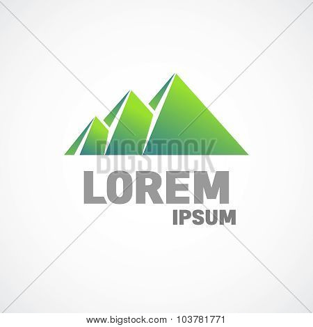 Mountains Or Pyramids Logo Template. Fundamental Sign.