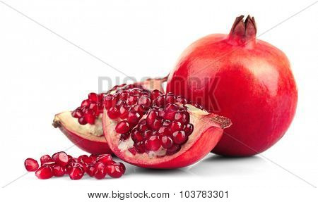 Juicy pomegranate isolated on white