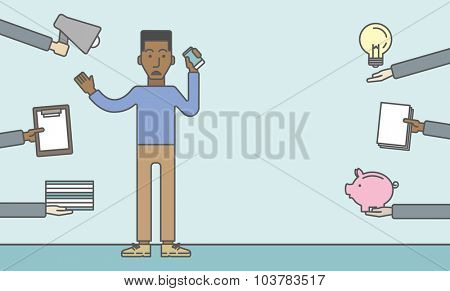 A black businessman confused having a lot to do. Vector line design illustration. Horizontal layout with a text space.