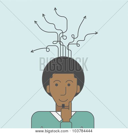 Thoughtful black man and arrows coming out of his head. Successful business concept. Vector line design illustration. Square layout.