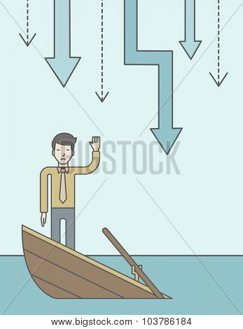 A scared asian businessman standing on a sinking boat asking for help with arrows pointing down behind his back. Bankruptcy concept. Vector line design illustration. Vertical layout with a text space.