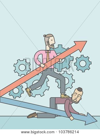 A caucasian businessman stepping on the back of another businessman who is crouching on all fours on the floor. Rivalry concept. Vector line design illustration. Vertical layout with a text space.