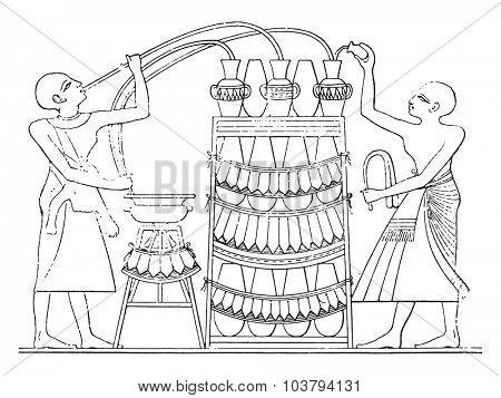 The Egyptian siphon, vintage engraved illustration.