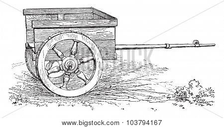 Gallic Chariot, vintage engraved illustration.