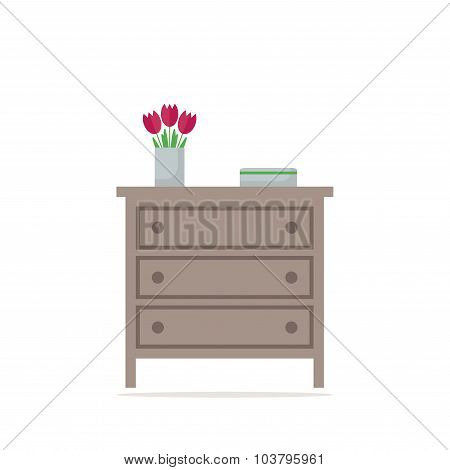 Chest of drawer icon. Isolated element on white background.