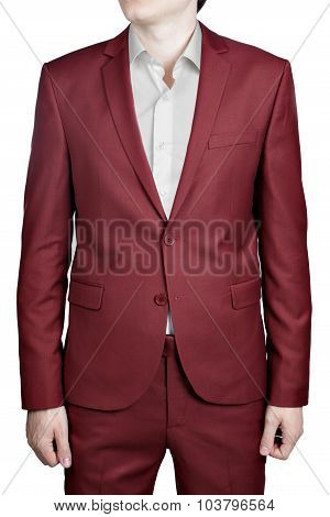 Maroon Color Prom Suit For Men, Isolated On White Background.