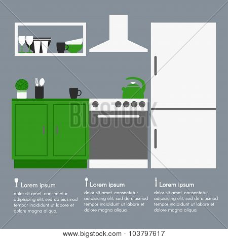 Kitchen interior design with template text.