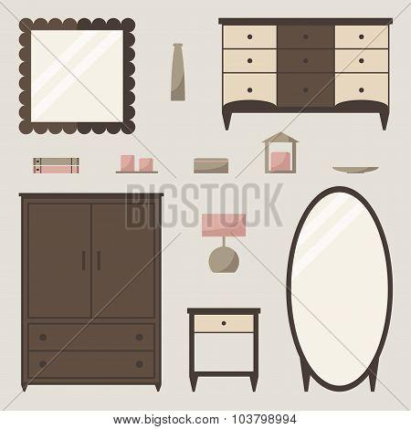 Wardrobe set. Classic wardrobe isolated elements.