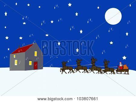 Santa Arriving At An Old Cottage