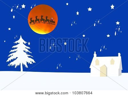 Winter Scene With Santa Against A Supermoon Eclipse
