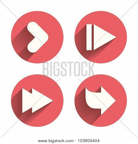 Arrow icons. Next navigation arrowhead signs. Direction symbols. Pink circles flat buttons with shadow. Vector poster