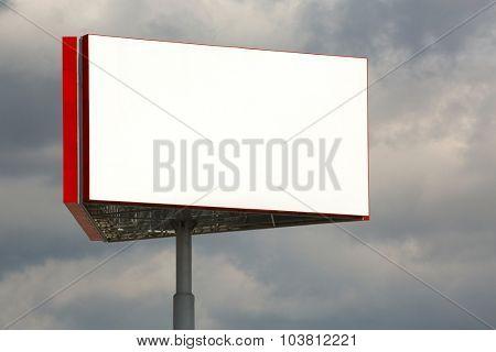 Empty billboard sign on a post