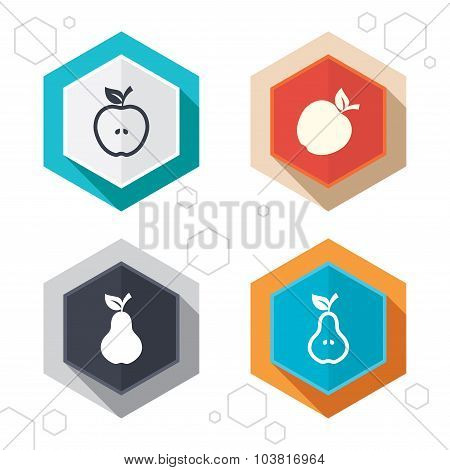 Fruits with leaf icons. Apple and Pear.