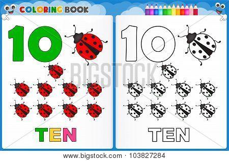 Coloring page number ten with colorful sample printable worksheet for preschool / kindergarten kids to improve basic coloring skills poster