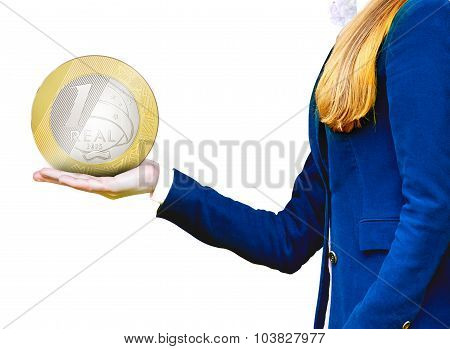 A business women holding a coin symbolizing financial relationships poster