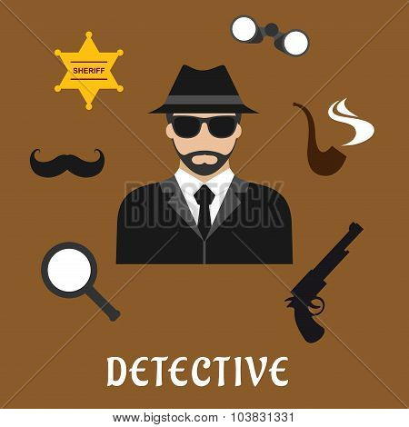 Detective profession flat icons with bearded man in black hat and sunglasses, encircled by binoculars, pipe, magnifier, gun, sheriff star badge and fake moustache poster