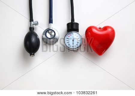 Blood pressure meter medical equipment isolated on white. poster