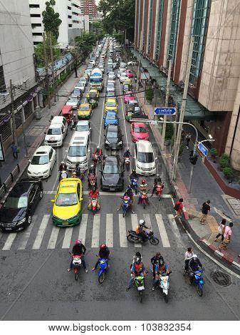 Street Scene with Traffic in Bangkok