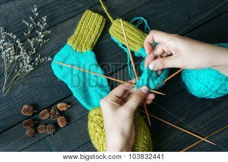 Socks, Stockings, Winter, Knit, Handmade