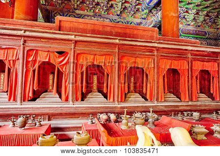 Interior Of Temple Confucius At Beijing -the Second Largest Confucian Temple In China.