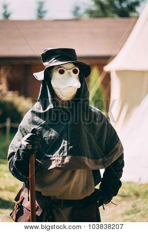 Plague doctor - participant of festival of medieval culture