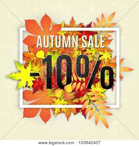 Autumn sale vector banner