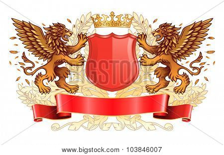 Two Winged Golden Lions Holding Shield with Crown and Banner