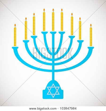 Vector illustration of hanukkah, jewish holiday. Hanukkah menora with  candles