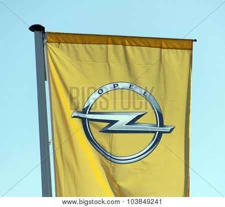 Opel Flag In Front Of A Opel Garage