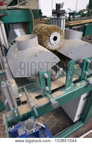 Electric Grinder Machine. Wood Factory. Wood Shavings, Grinding Disc And Polishing Brush