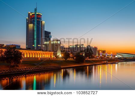 Night View Of Business Center Royal Plaza -Skyscraper on Pobediteley Avenue in district Nemiga in Mi