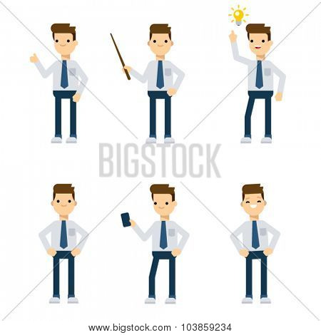 Set of vector flat style characters: office guy in different static poses.