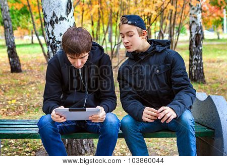 Boys With Tablet Outdoor