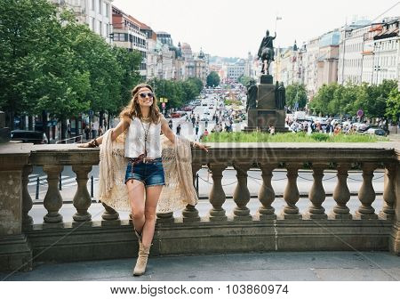 Bohemian Woman Standing In The Historical Center Of Prague