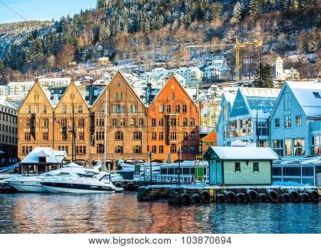BERGEN,NORWAY - DECEMBER 29: The historical part of the city. Bergen, Norway on December 29, 2014. Scenery of Bryggen in Bergen. UNESCO World Heritage Site. poster
