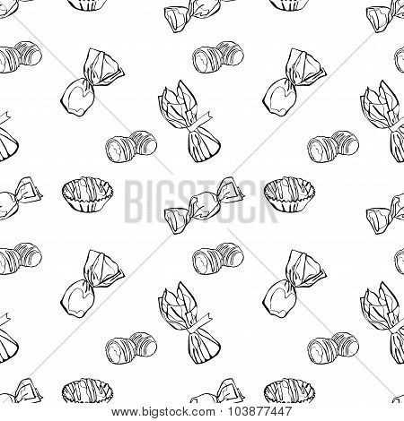 Candies. Chocolate candies. Colored wrappers and candy wrappers. Vector seamless background. poster