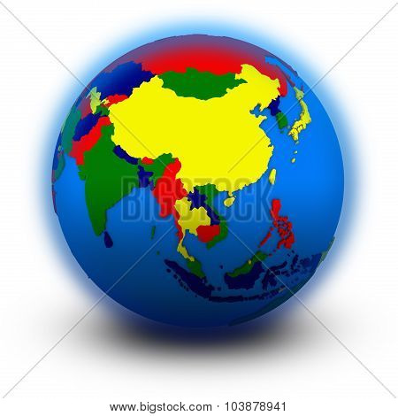 southeast Asia on political globe illustration isolated on white background poster