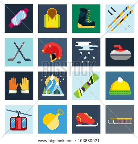 Winter sport vector icons set. Winter sport games icons pictograms. Winter sports icons flat design. Winter games sport icons isolated. Ski, sport, extreme sports, winter games, sport icons