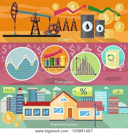Concept of Real Estate Price Oil and Shares
