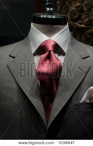 Grey Jacket With Red Tie