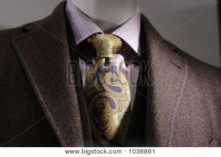 Brown Coat, Pink Shirt, Tie