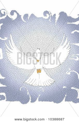 A dove is flying in front of a light blue glass design. poster