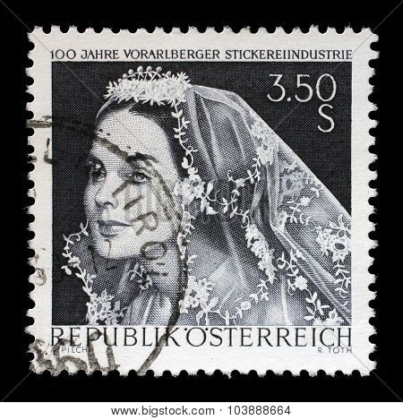 AUSTRIA - CIRCA 1968: a stamp printed in the Austria shows Bride with Lace Veil, Centenary of Embroidery Industry of Vorarlberg, circa 1968