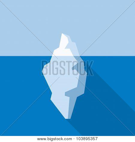 White Iceberg on Blue Atlantic Background. Flat Style. Vector