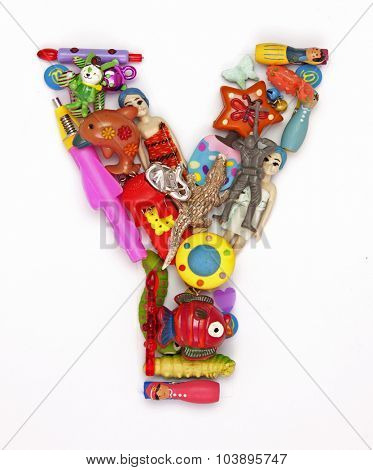 the letter     Y made from small toys