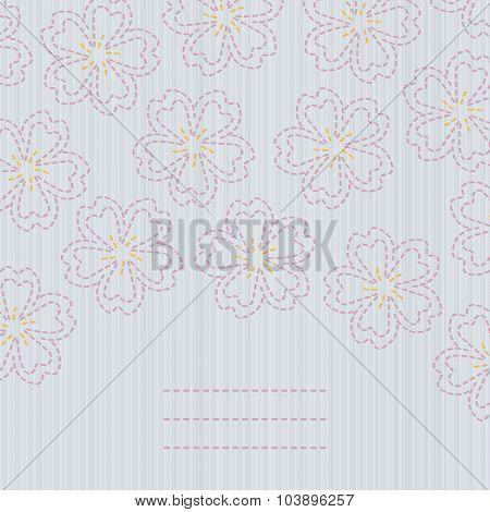 Japanese quilting. Sashiko card. Sakura flowers.