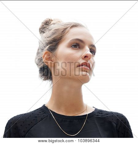 young woman gazing into distance