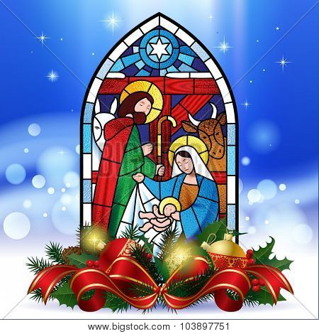 Stained glass window depicting Christmas scene against a luminescent blue background with decorations. Christmas greeting card